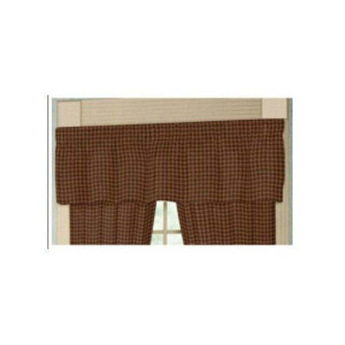 "Patch Magic Tan and Gold Rustic Checks 54"" Curtain Valance"