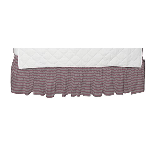 Pink and White Large Ticking Fabric Crib Dust Ruffle