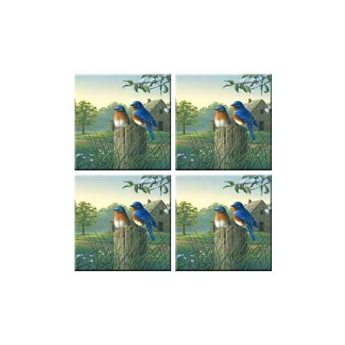 McGowan Tuftop Country Morning Bluebirds Coasters