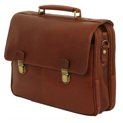 Dr. Koffer Fine Leather Accessories Troy Leather Laptop Briefcase