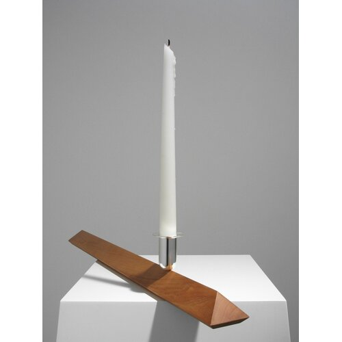 Designfenzider No.3 Cherry Wood, Silver Plated Aluminum Candlestick Holder
