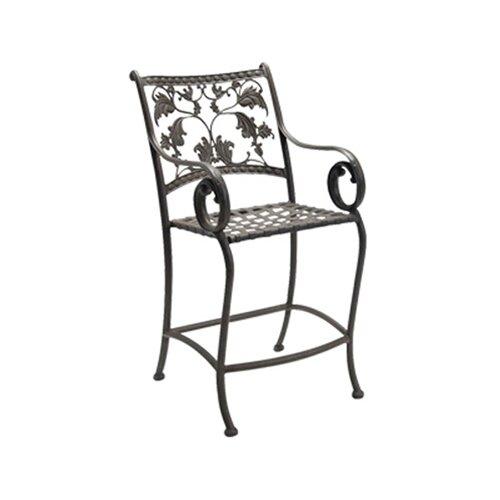 """Woodard Landgrave Old Gate Stationary 26.3"""" Barstool with Cushion"""