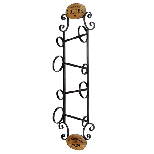 4 Bottle Wall Wine Rack with Wood Accents