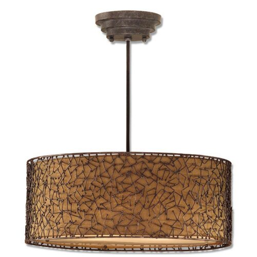 "Uttermost 22"" Brandon Fabric Drum Pendant Shade"