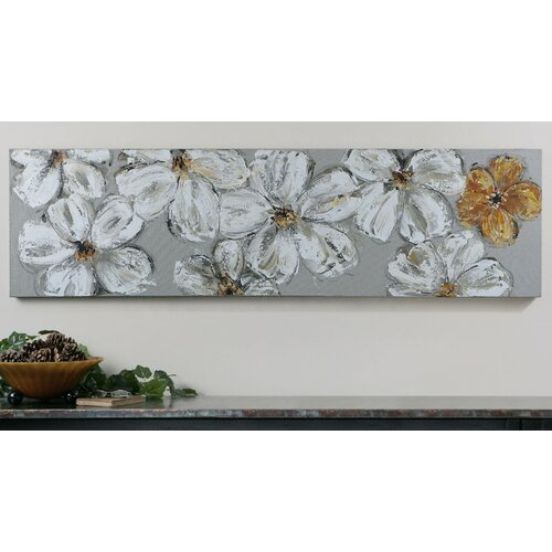 Stitched Daisies Floral Original Painting on Canvas
