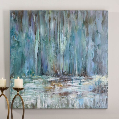 Blue Waterfall Original Painting on Canvas