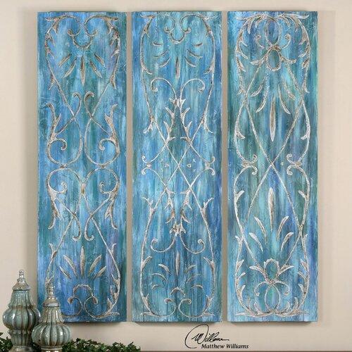French Quarter Trellis by Grace Feyock 3 Piece Original Painting on Canvas Set