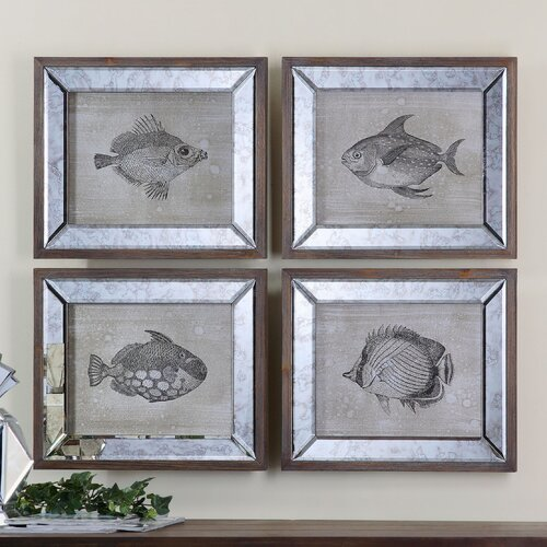 Mirrored Fish by Steve Kowalski 4 Piece Framed Painting Print Set