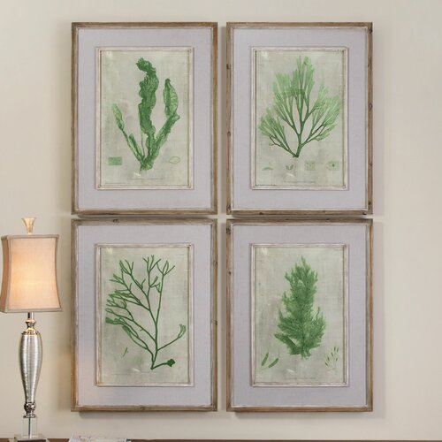 Emerald Seaweed by Grace Feyock 4 Piece Framed Painting Print Set
