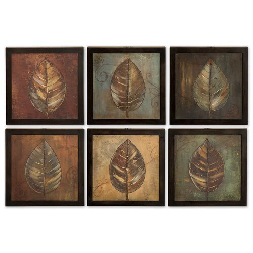 New Leaf Panel 6 Piece Framed Original Painting Set