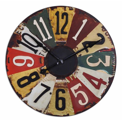 "Uttermost Vintage Oversized 29"" License Plates Wall Clock"