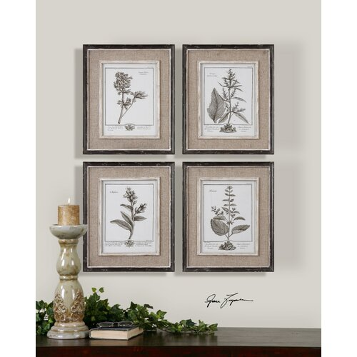 Uttermost Casual Grey Study by Grace Feyock 4 Piece Framed Painting Print Set