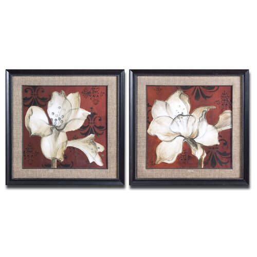 Amaryllis on Red 2 Piece Framed Painting Print Set
