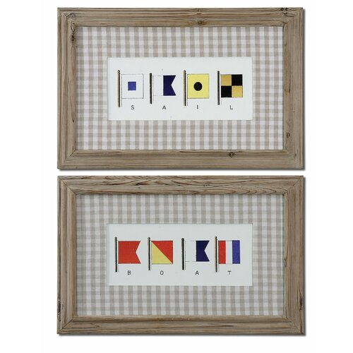 Uttermost Signal Flags by Grace Feyock 2 Piece Framed Painting Print Set
