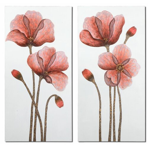 Floral Aura by Grace Feyock 2 Piece Original Painting on Canvas Set