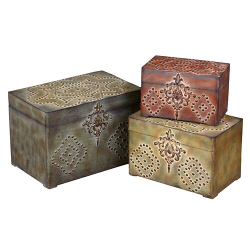 Uttermost Hobnail Boxes in Red, Green and Gold
