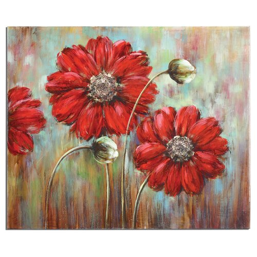 Shining Stars Floral Original Painting on Canvas