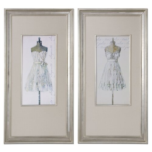 Elegante and Tres Jolie 2 Piece Painting Print on Shadow Box Set