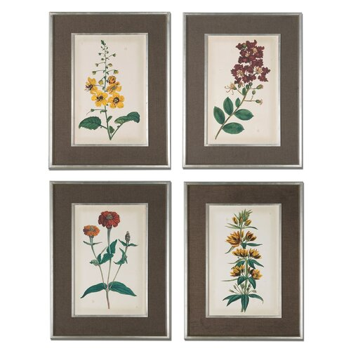 Floral Varieties 4 Piece Framed Painting Print Set