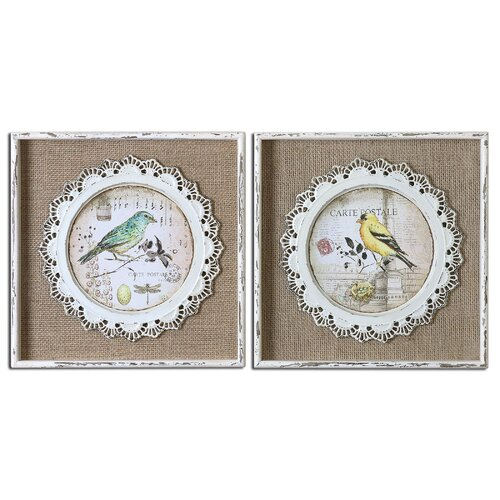 Bird Stamps by Grace Feyock 2 Piece Framed Graphic Art Set