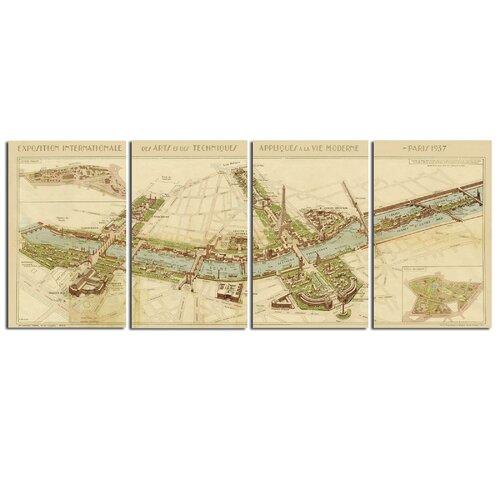 Paris Map by John Kowalski 4 Piece Graphic Art Plaque Set