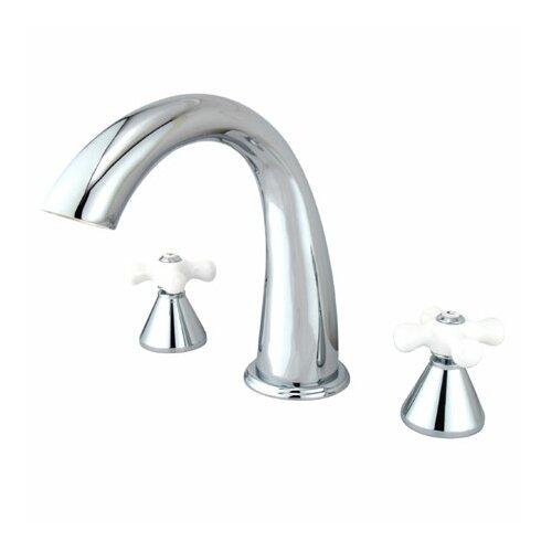 Elements of Design Double Handle Deck Mount Roman Tub Faucet Trim Porcelain Cross Handle