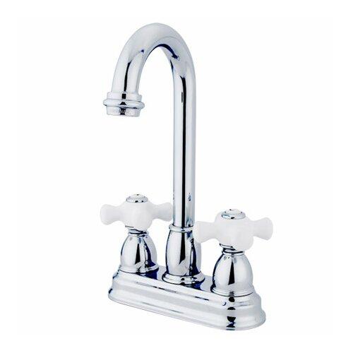 Double Handle Centerset Bar Faucet with Porcelain Cross Handles