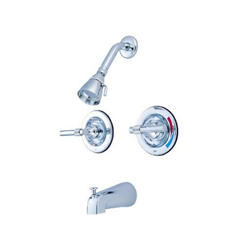 Elements of Design Milano Diverter Tub and Shower Faucet with Magellen Lever Handles