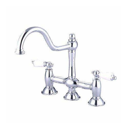 Elements of Design Double Handle Widespread Bridge Faucet with Porcelain Lever Handles