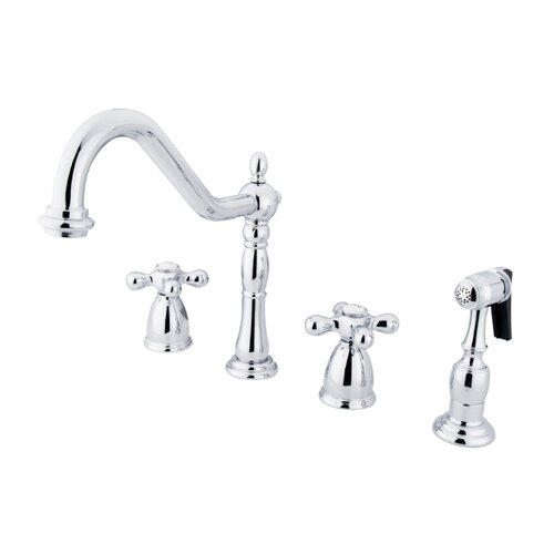 Heritage Two Handle Widespread Kitchen Faucet with Metal Cross Handles