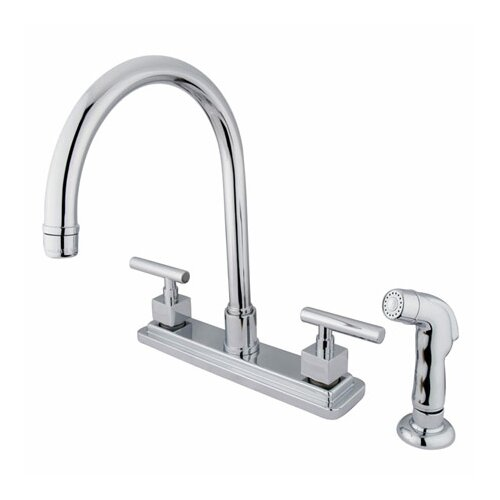 Elements of Design Tampa Double Handle Centerset Kitchen Faucet with Metal Lever Handles and Side Spray