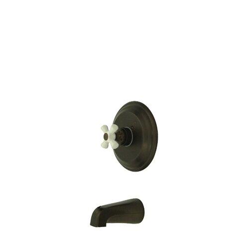 Elements of Design Vintage Pressure Balanced Tub and Shower Faucet Trim with Porcelain Cross Handles