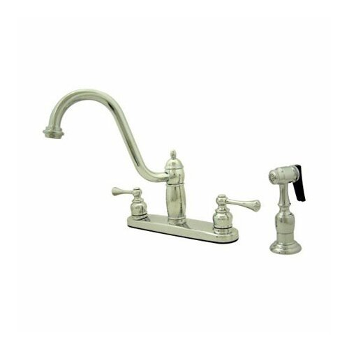Elements of Design Heritage Double Handle Centerset Kitchen Faucet with Buckingham Lever Handles