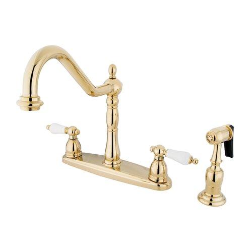 Elements of Design New Orleans Double Handle Centerset Kitchen Faucet with Porcelain Lever Handles