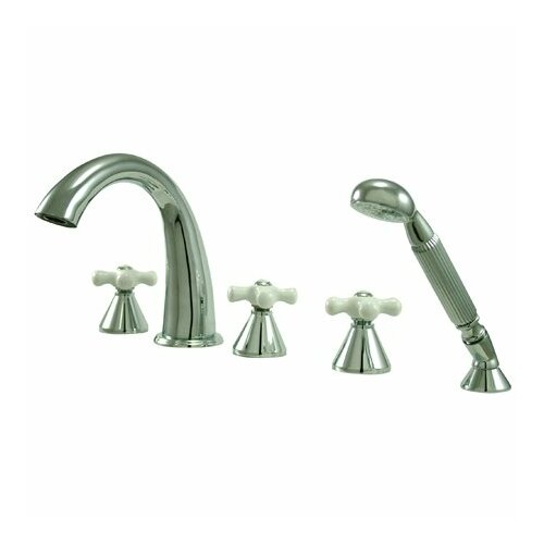 Elements of Design Naples Double Handle Deck Mount Roman Tub Faucet Trim Porcelain Cross Handle