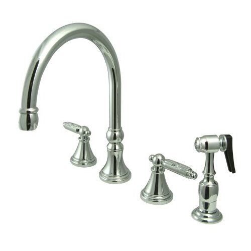 Deck Mount Double Handle Widespread Kitchen Faucet with Metal Cross Handle