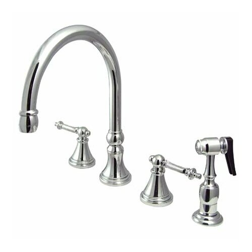 Deck Mount Double Handle Widespread Kitchen Faucet with Metal Lever Handle and Brass Sprayer