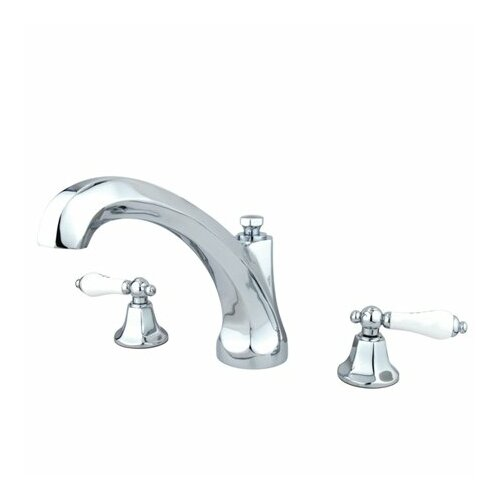 Elements of Design Metropolitan Double Handle Deck Mount Roman Tub Faucet Trim Porcelain Lever Handle
