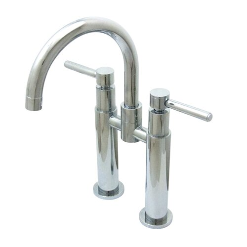 Elements of Design Widespread Vessel Sink Faucet with Double Metal Cross Handles
