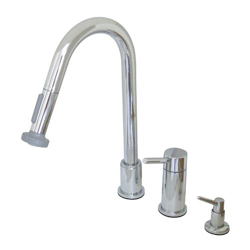 Elements of Design Concord Widespread Kitchen Faucet with Pull Out Spray and Concord Lever Handle