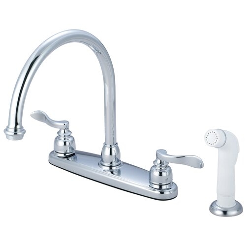 NuWave French Double Handle Centerset Kitchen Faucet with White Sprayer