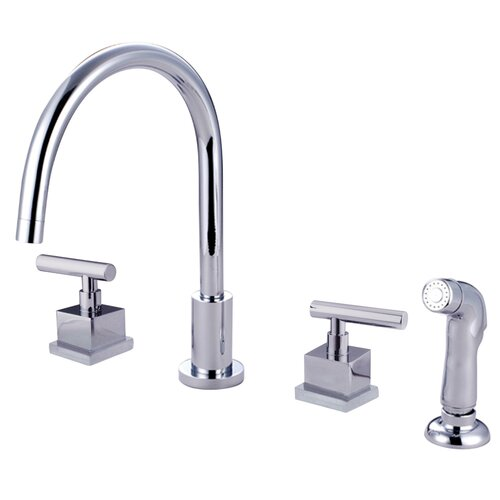 Claremont Double Handle Widespread Kitchen Faucet with Plastic Sprayer
