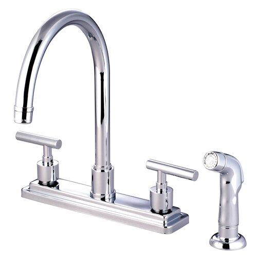 Elements of Design Manhattan Double Handle Kitchen Faucet with Non-Metallic Sprayer