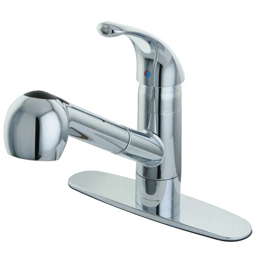 Elements of Design Century Single Handle Pull Out Kitchen Faucet with Deck Plate