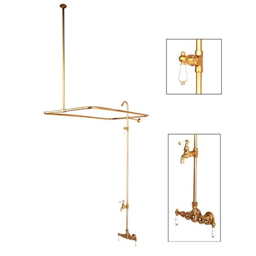 Elements of Design Vintage Volume Control Tub and Shower System with H&C Porcelain Lever Handles