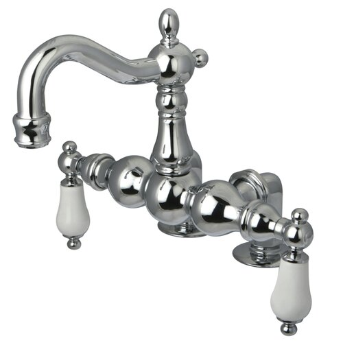 Elements of Design Hot Springs Double Handle Deck Mount Clawfoot Tub Faucet