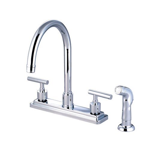 Elements of Design Sydney Double Handle Centerset Kitchen Faucet with Non-Metallic Sprayer