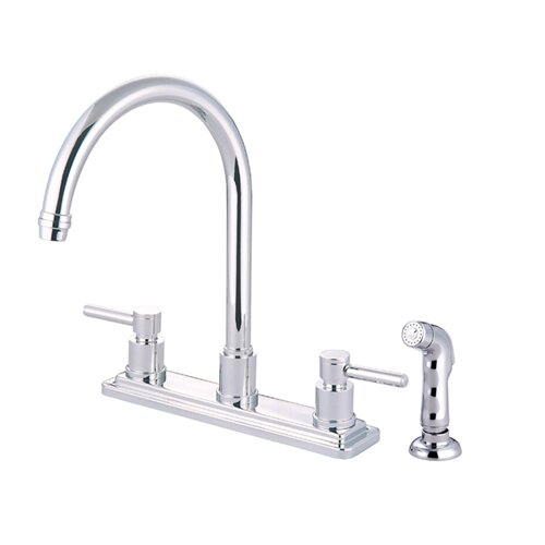 Elements of Design Tampa Double Handle Centerset Kitchen Faucet with Elinvar Lever Handles and Side Spray