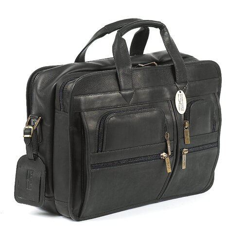 Claire Chase X-Wide Executive Leather Laptop Briefcase