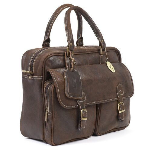 Claire Chase Traveler's Leather Laptop Briefcase
